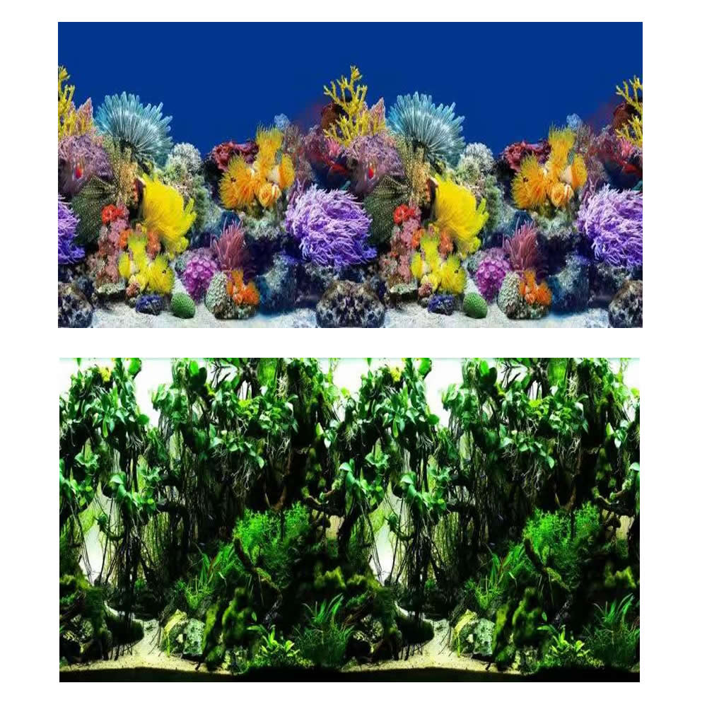Freshwater aquarium fish poster - 8001 15 Meters Roll Double Sided Fish Tank Background Colored Coral Green Vine Aquarium