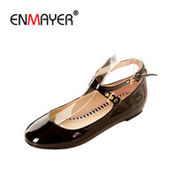 Big Size 30 47 US16 New Sweet Candy Ladies Flat Shoes Cute Flats Patent Leather Glitter