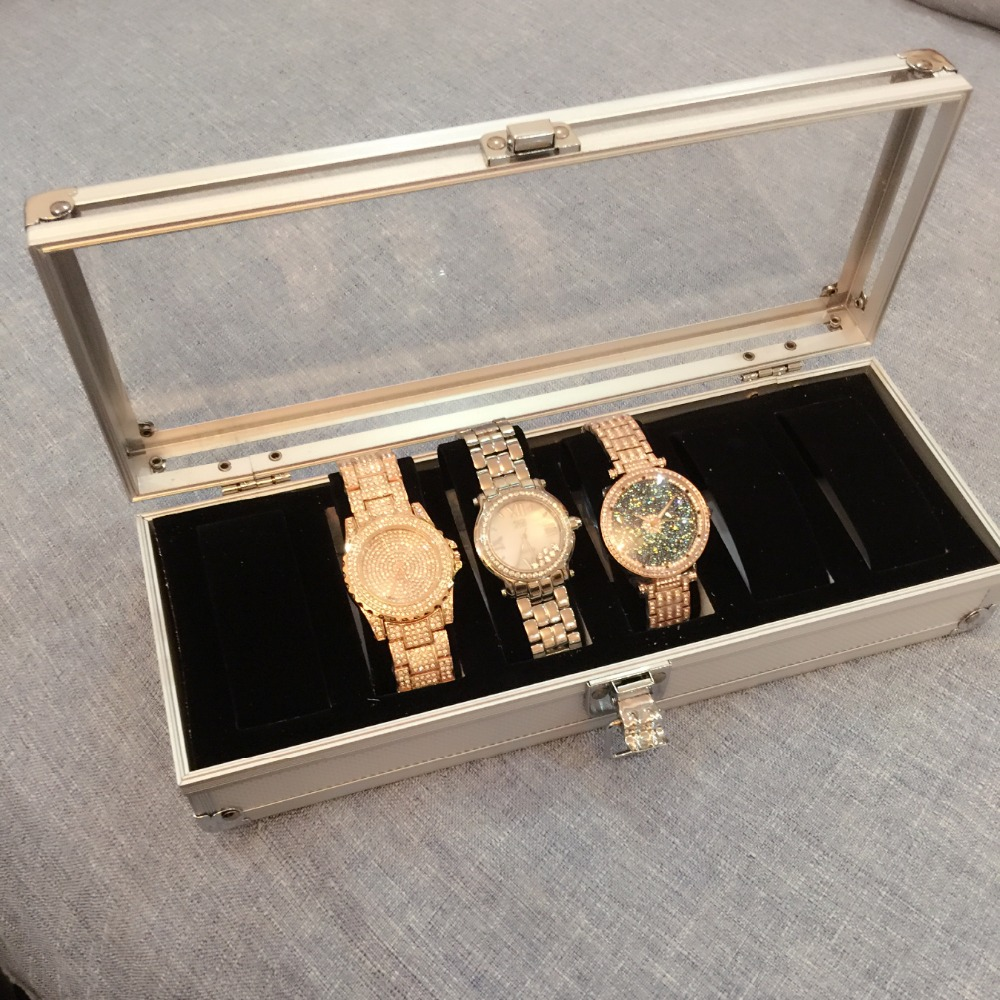 Caja de reloj para hombre, caja de 6 ranuras, reloj de pulsera, caja - Accesorios para relojes