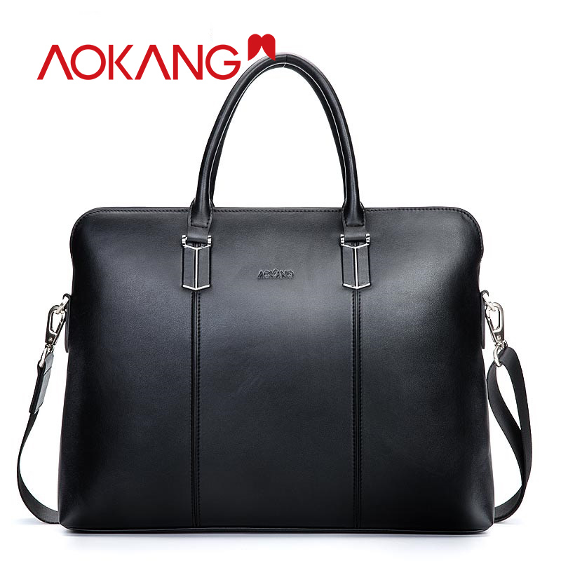 AOKANG 2019 Genuine Leather Guarantee Briefcase Men Bag  Shoulder Bags Briefcase For Documents Handbag Luxury Male Briefcases