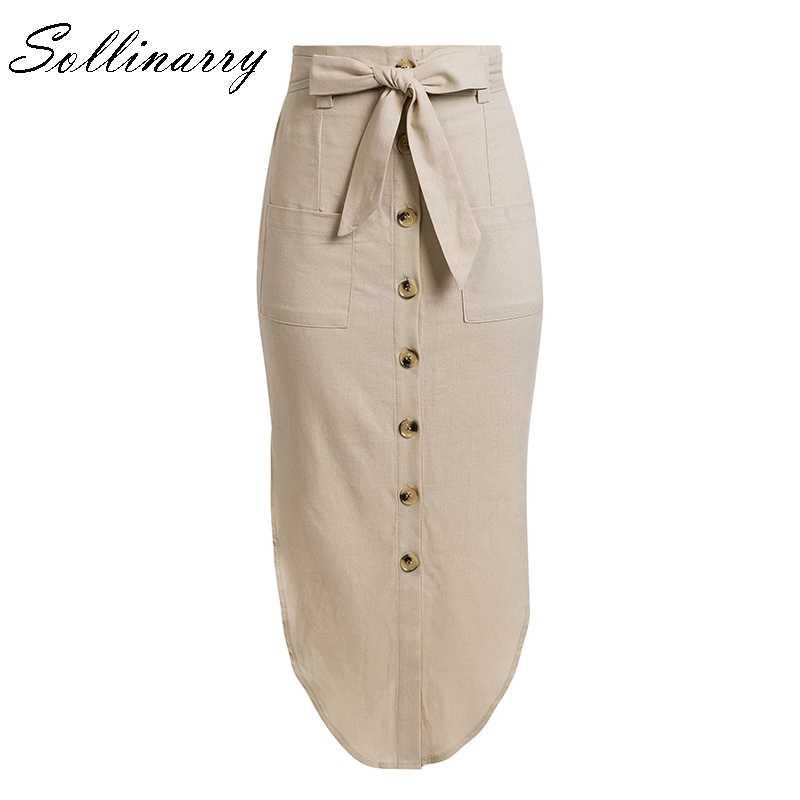 Sollinarry dégagement taille haute lin Midi jupes femmes plage noeud ceinture cravate jupe solide bouton poche jupe Mujer