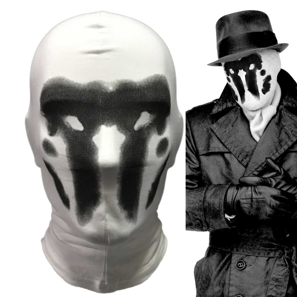 Cute Watchmen Rorschach Mask Cosplay Costume Full Face Funny Comic Watchmen  Halloween Party Cosplay Masks Props