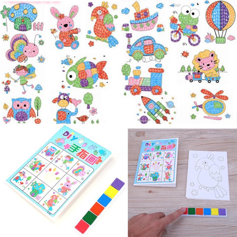Cartoon Kids DIY Finger Painting Craft Set Children Colorful Fingerpaint Drawing Picture font b Toy b