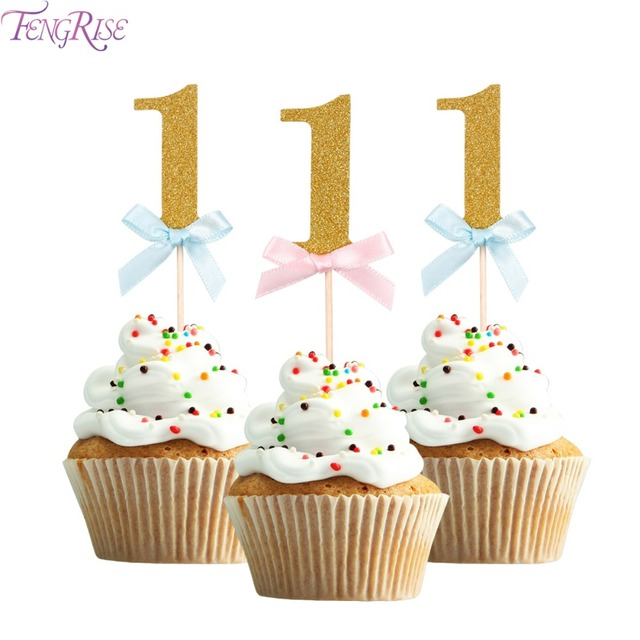 Aliexpresscom Buy FENGRISE 10pcs Baby First Birthday Cupcake