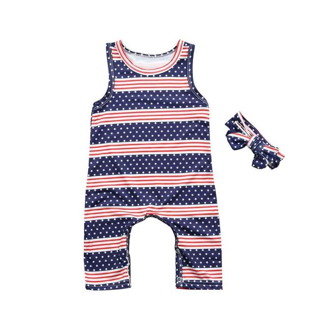 4f5b38177bb04 2018 New Arrival Toddler Baby Boys Girls Stars Striped Rompers Jumpsuit 4th  Of July Outfits Set hot sale May 3