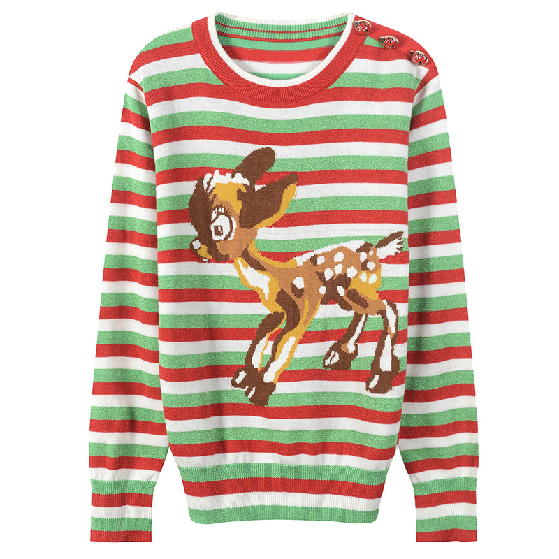 SRUILEE Sparkle Christmas Sweater 2018 New Autumn Animal Buttons Jumper Women Sweater Reindeer Striped Pullover Knit Tops Runway