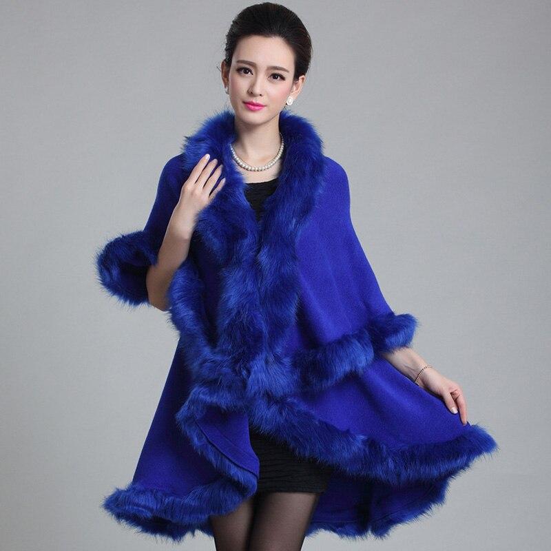 Зима теплая Лисий мех воротник пальто с мехом шаль свитер для женщин шаль Большие размеры меховая накидка пончо fs0307