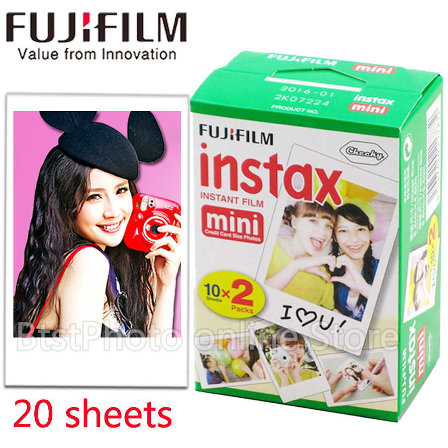 Original Fuji Fujifilm instax mini 8 film 20 sheets white Edge film for instax Instant Camera mini 8 7s 25 50s 90 photo paper 100 sheets fuji fujifilm instax mini film for instant camera mini 8 7s 25 50s white edge 3 inch film photo paper free shipping