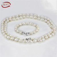 SNH 9mm rice AA white 2rows necklace and one row bracelet sets, real 925silver pearl set jewelry