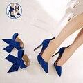 Mais Mulheres do Tamanho Aconselhável Big Bow Tie Bombas Apontou Toe Stiletto Sapatos de Casamento Nupcial Bowknot Sapatos de Salto Alto Mulher Magra