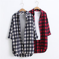 100% cotton 2018 new long sleeved women plaid shirt green red gray loose casual blouse fashion tops