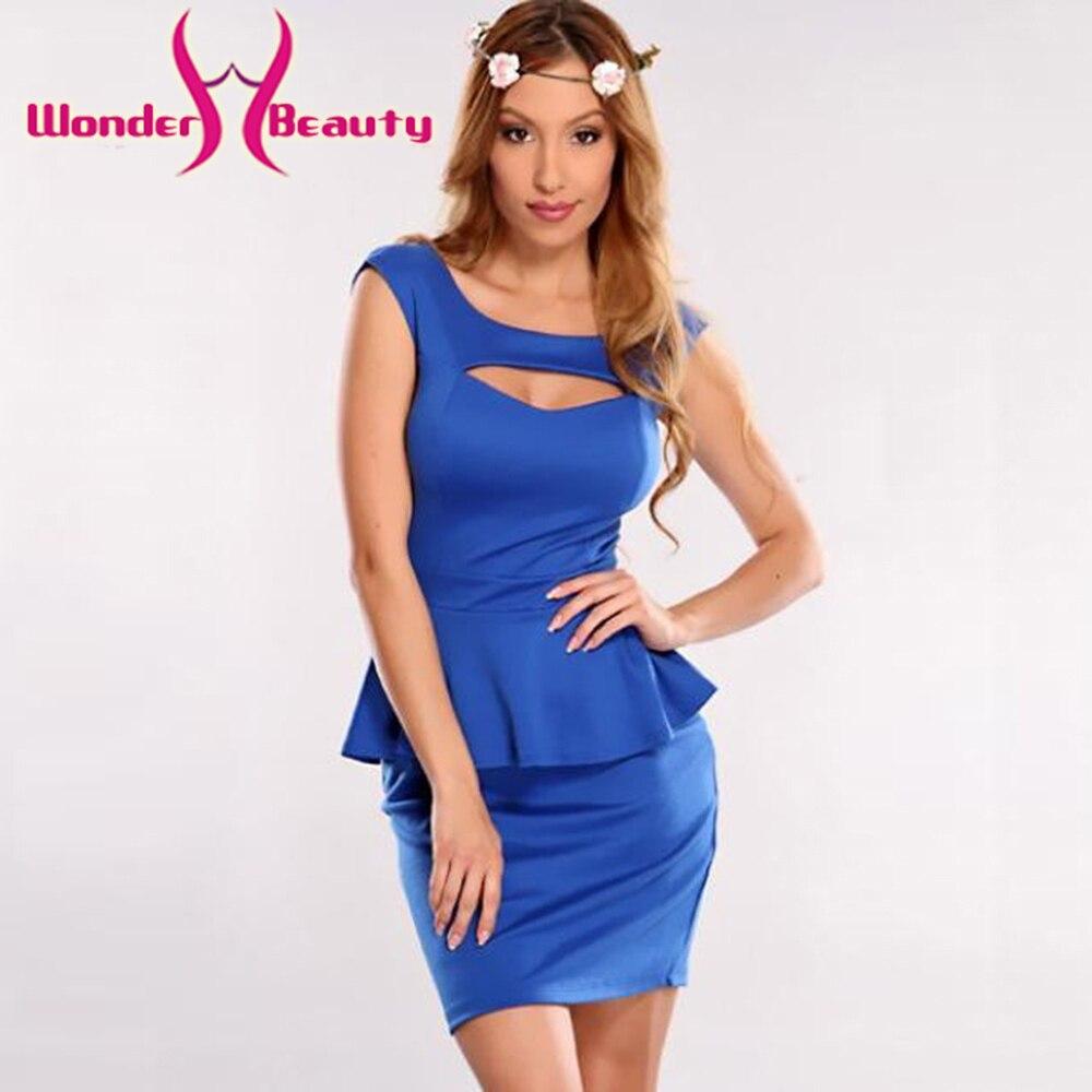 Wonder beauty Sexy pět barev výřez peplum šaty duté out hrudník peplum koktejl mini ženy šaty W203079
