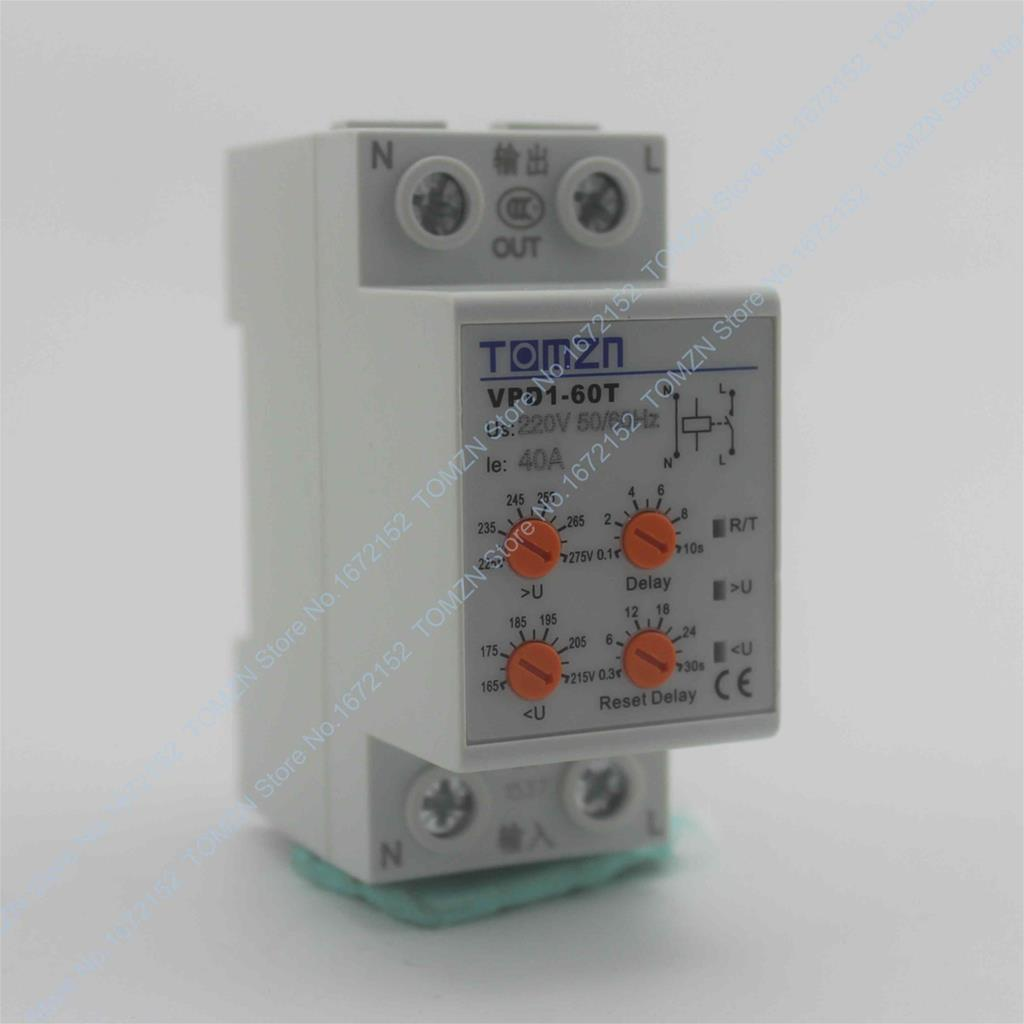 40A 220 V carril DIN reconexión automática sobre voltaje y bajo voltaje relé del dispositivo de protección con el botón ajustable