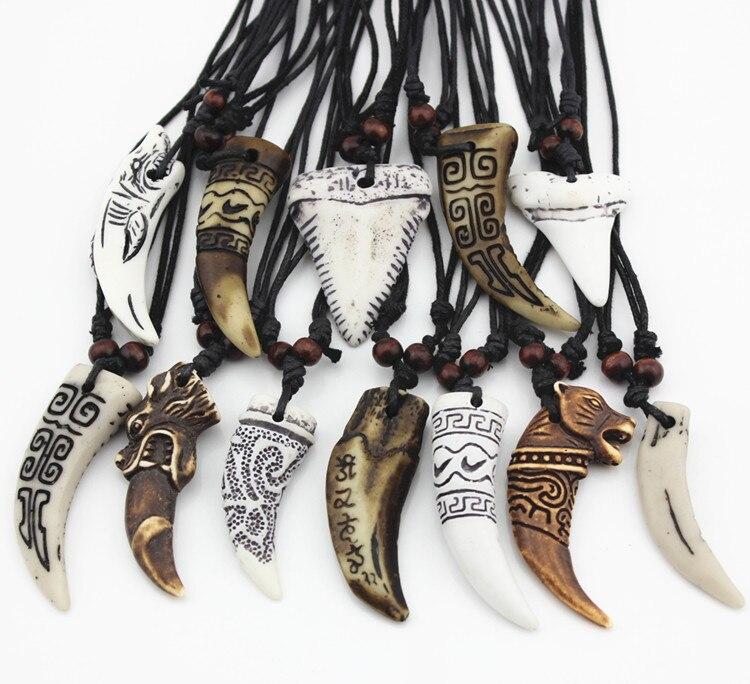 12 шт. смешанные прохладный имитация кости резной дракон тотем акула/кулон ожерелье волчий зуб амулет MN465 - Окраска металла: Style 1