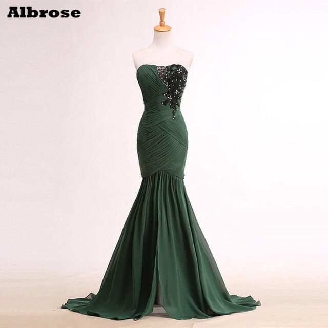 d13f5cbd50a Реальный образец Кристалл блестками Русалка вечернее платье с открытой  спиной зеленое платье Элегантное Длинное Вечерние платья