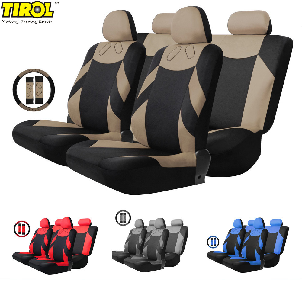 13pcs set car seat covers full seat car interior accessories steering wheel bench backrest back. Black Bedroom Furniture Sets. Home Design Ideas