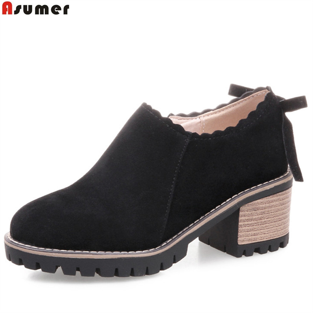 ASUMER black beige round toe zip spring autumn ladies shoes square heel fashion women high heels shoes flock big size 34-43 коронка пильная makita 38х40мм ezychange b 11368