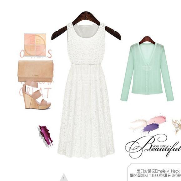 Lace Dress Slim vestido Sleeveless Summer Lace Dress Vest Long Dress Outfit White New Year Dress ...