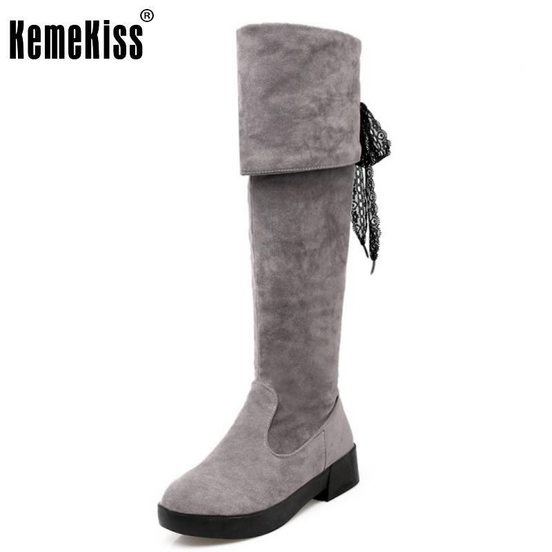Women Boots Winter Ladies Fashion Flat Boots Shoes Over The Knee Thigh High Suede Long Boots Brand Designer Size 34-43
