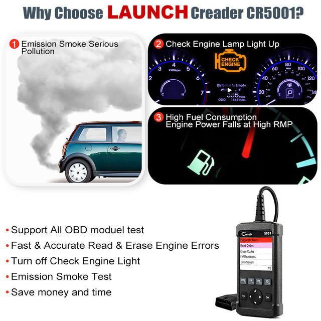 LAUNCH X431 Creader CR5001 OBD2 Automotive Scanner Car Engine Diagnostic Tool EOBD Code Reader OBD 2 Auto Scan Tools Free Update