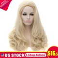 Light Blond Long Wavy No Bangs Heat Resistant Synthetic Lace Front Wig Cosplay Party