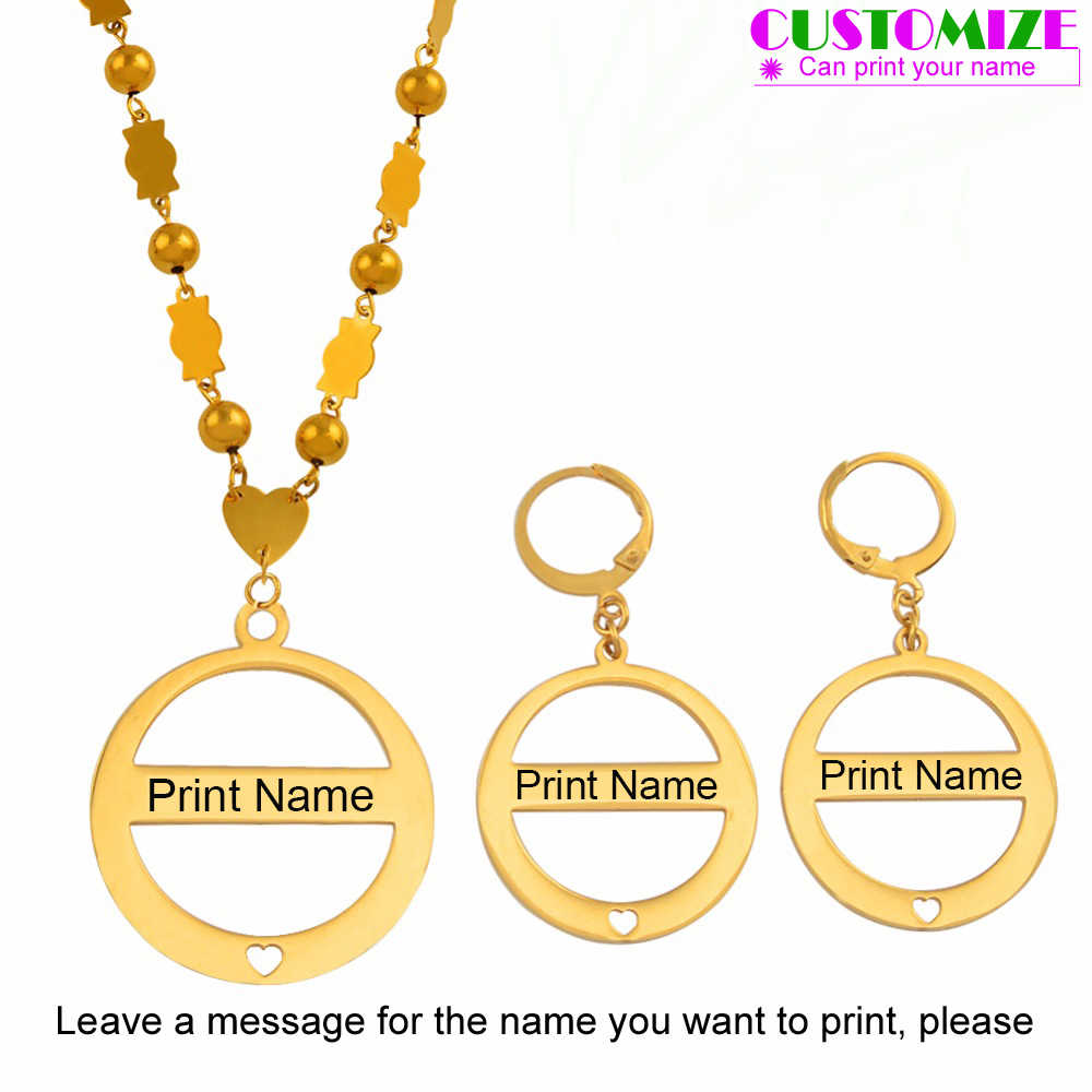 Anniyo Customize Name Pendant Beads Necklace Earrings Marshall Sets Stainless Steel Personalize Names Jewelry Micronesia #053321