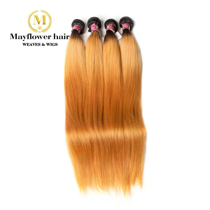 "Mayflower 1B/27 Ombre Malaysian straight virgin hair Silky luster No tangle 1/2/3/4 bundles from 12-28"" mix length Free shipping"