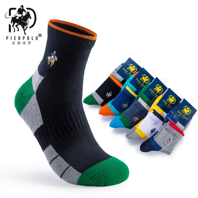 5b10b0820c76 10pcs = 5 pairs PIER POLO Brand Men Socks Embroidery Winter Man Socks  Cotton High Quality Sheer Mens Socks Calcetines Hombre Sox