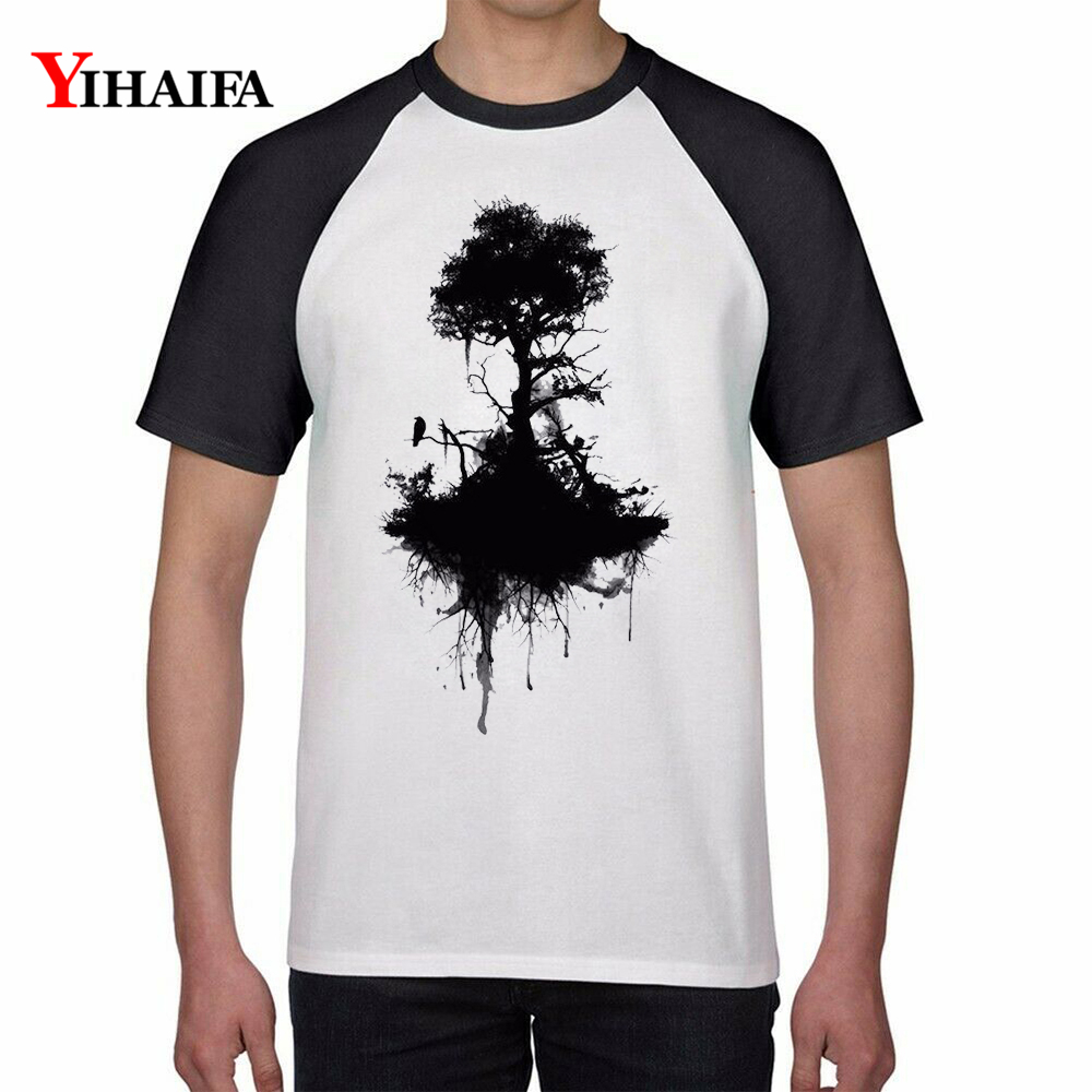 T Shirts Black Tree 3D Print Creative Graphic Smog Tees Men Women Summer Casual Tee Tops White Cotton TShirt Unisex Top in T Shirts from Men 39 s Clothing