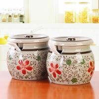 Creative Ceramic Spice Jar Vintage Japanese Cherry Glaze Color Seasoning Containers for Spice Salt Shaker with Spoon and Cover