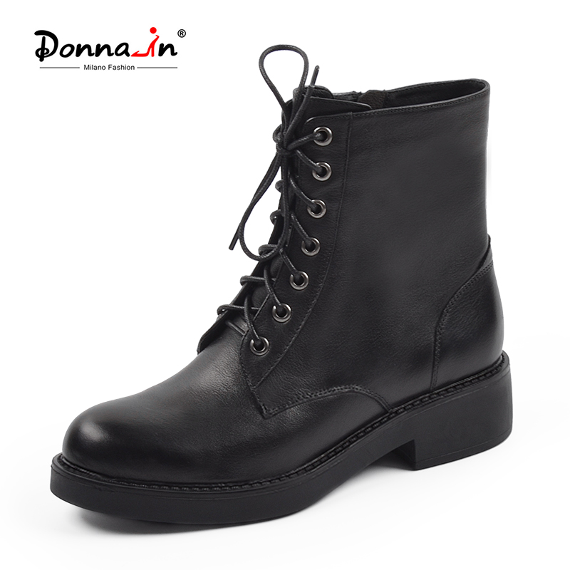 Donna-in Women Black Ankle Boots Chunky Mid Heels Winter Martin Boots High Quality Genuine Leather Women Fashion Lace Up Boots