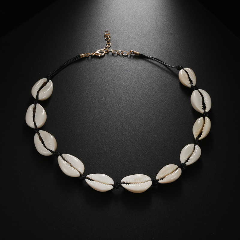 Bohemian Gold Seashell White Rope Necklace Natural Shell Choker Women Best Friend Collares Necklaces Gift Jewelry schelpen ket