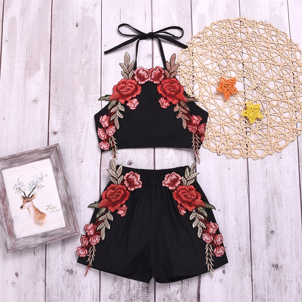 2pcs Infant Baby Girls Flower Print Sleeveless Summer Tops+Short Pants Outfit Clothes Set
