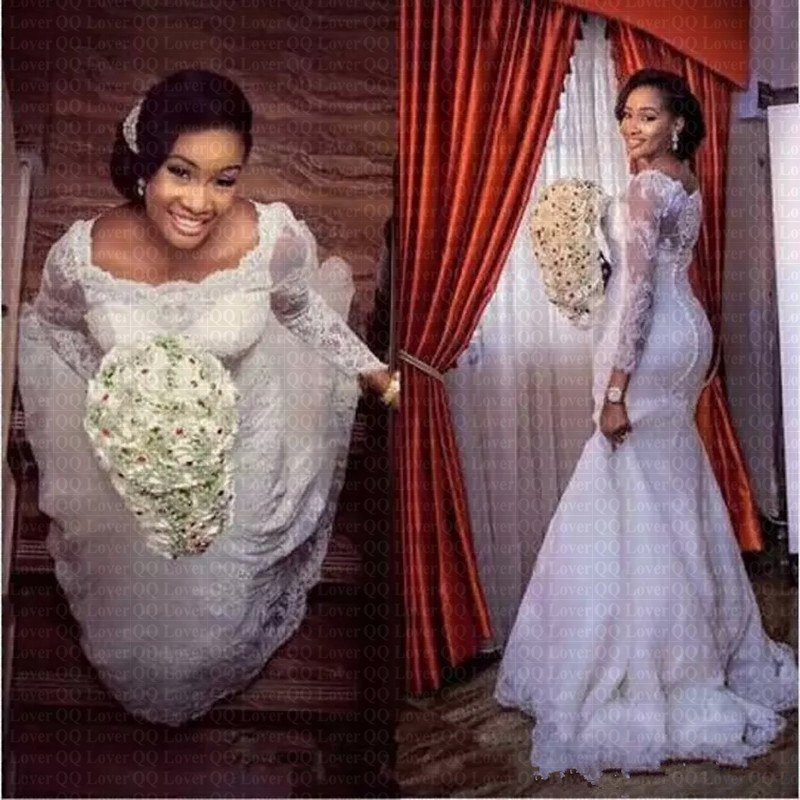 2019 New African Lace Long Sleeve Mermaid Wedding Dress Appliques Bridal Gowns