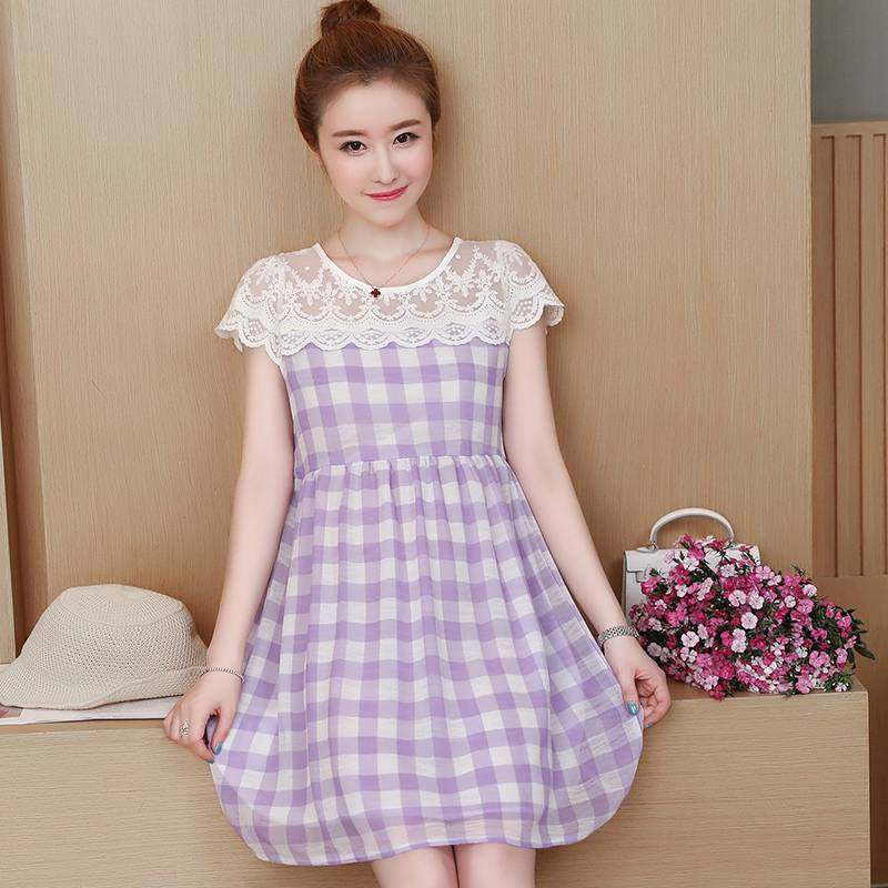 Lattice maternity clothes summer new Korean version of the long section lace stitching fashion loose large size dress