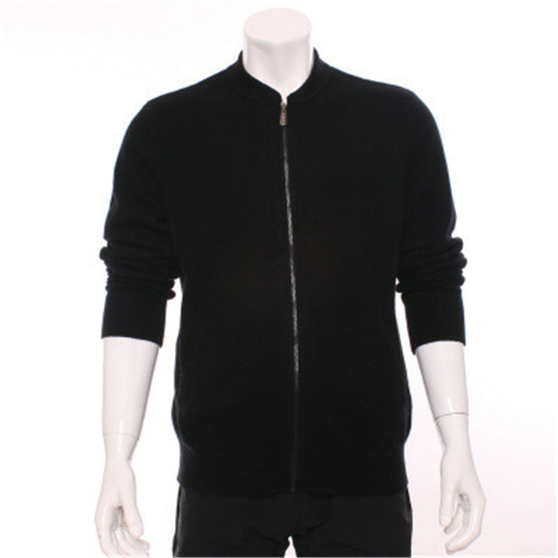 100%goat Cashmere Half-high Stand Collar Knit Men Fashion Zipper Cardigan Sweater Grey 2color S-2XL