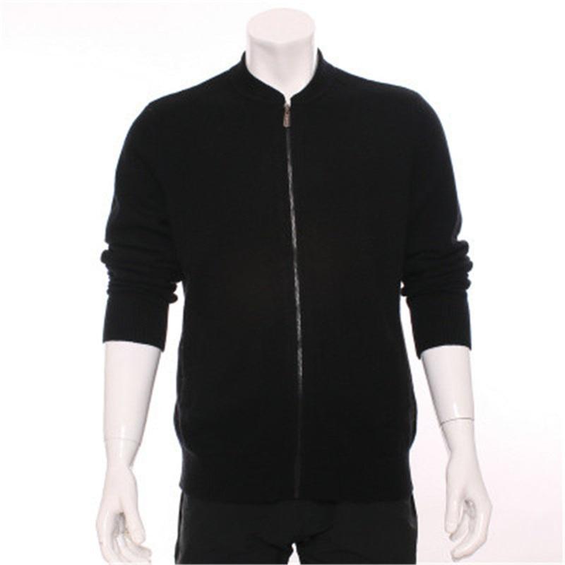 100%goat Cashmere Half-high Stand Collar Knit Men Fashion Zipper Cardigan Sweater Grey 2color S-2XL