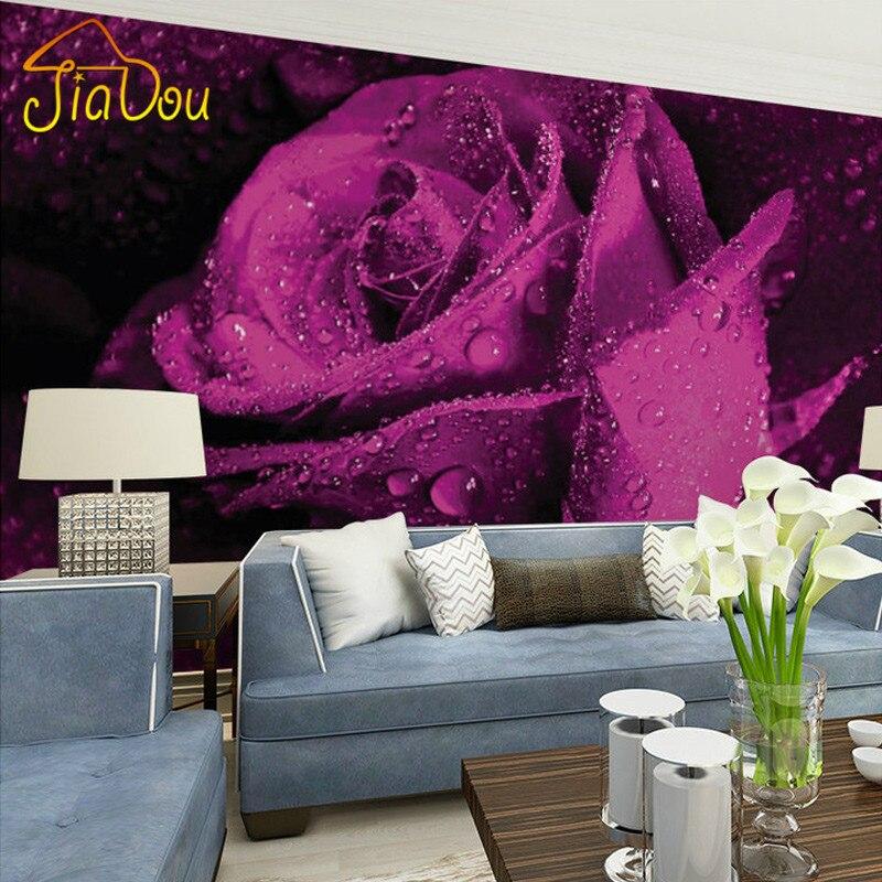 Custom Mural Wallpaper 3D Stereo Non Woven Murals Bedroom Living Room TV  Background Purple Rose Flower 3D Photo Wallpaper Rolls