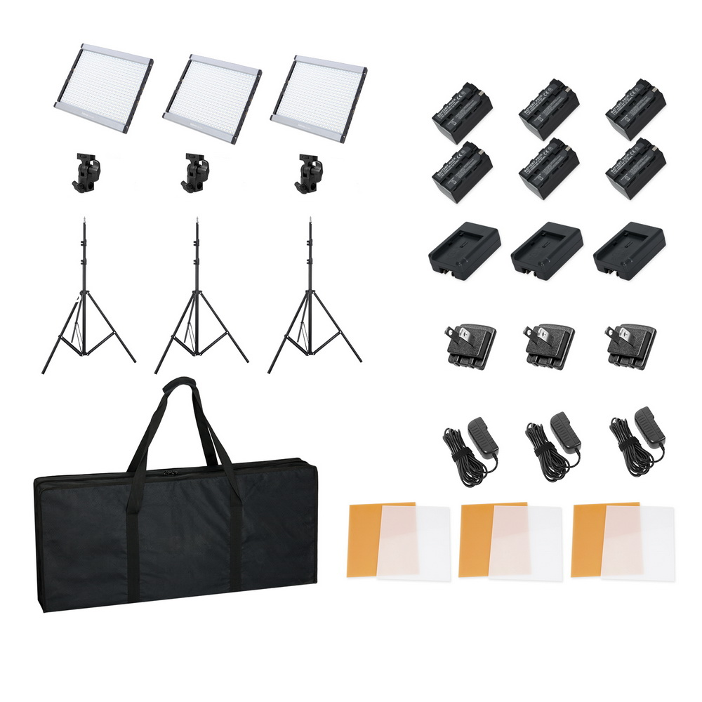 Selens GE-500 Portable Dimmable 5600K Daylight LED Video Camera Light Panel Kit with Light Stand & Carrying Bag for Studio Selens GE-500 Portable Dimmable 5600K Daylight LED Video Camera Light Panel Kit with Light Stand & Carrying Bag for Studio