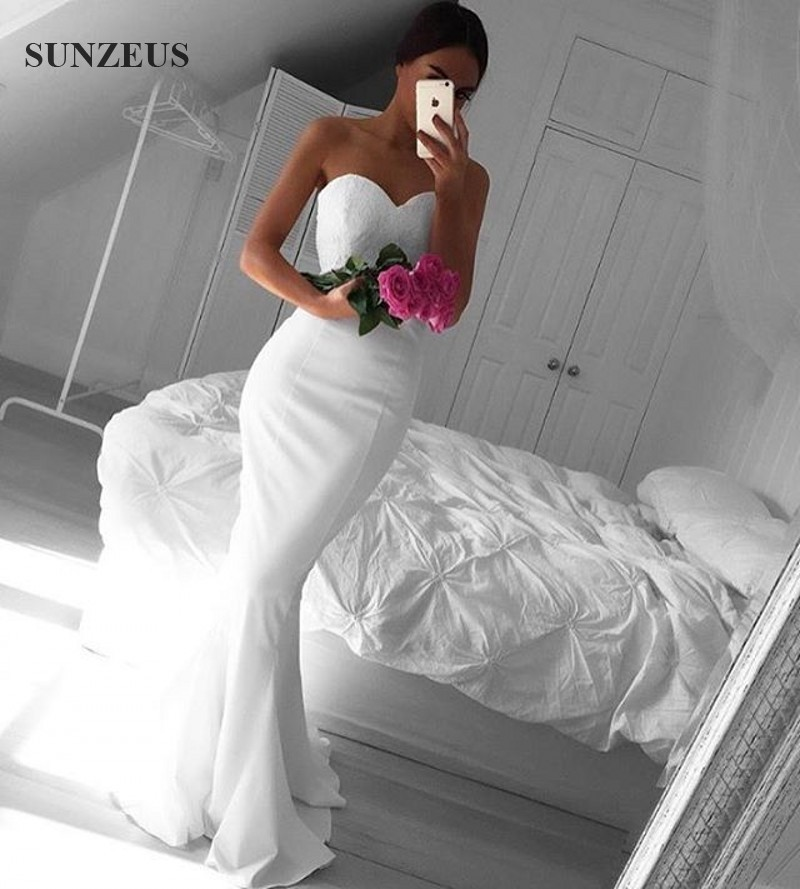 Mermaid long white bridesmaid dresses with lace top new for White dresses for wedding guests