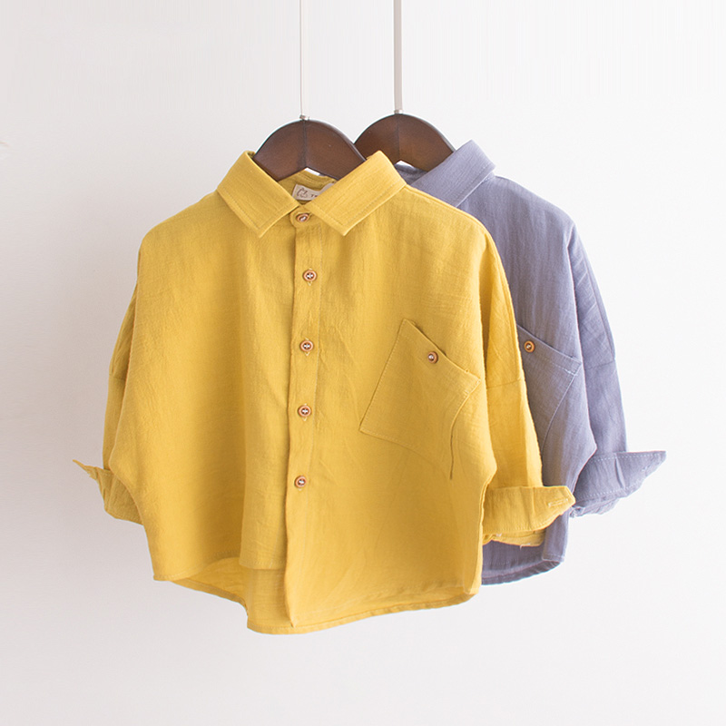 Spring Autumn Boys   Shirt   Casual Pocket Cotton Children Tops Outerwear Full Sleeve Kids   Blouse     Shirt   BC370