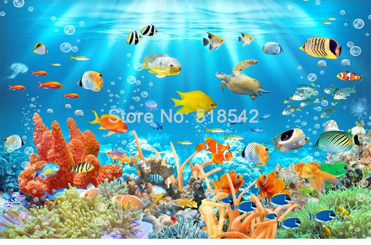 HTB1lsiFPVXXXXX7aXXXq6xXFXXXo - Custom Photo Mural Non-woven Embossed Wallpaper Underwater World Fish Coral Children Room Living Room Wall Decoration Wallpaper
