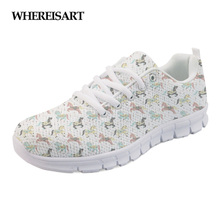 WHEREISART Fashion Girls Casual Shoes Brand Womens Carousel Horses 3D Print Walking Female Breathable Sneakers Ladies Flats