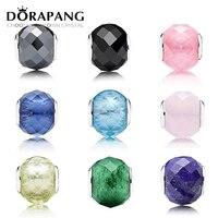 DORAPANG Geometric Facets 100 925 Sterling Silver European Charm Murano Glass Beads Fit DIY Bracelet Bracele