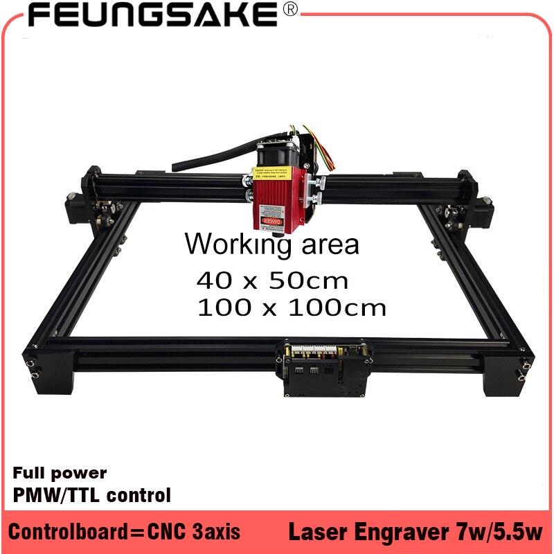 7 Вт устройство для лазерной резки ttl PMW управления 1*1 м гораздо больше чем 5,5 Вт/15 Вт лазерная гравировка машины, лазерная резьба с ЧПУ