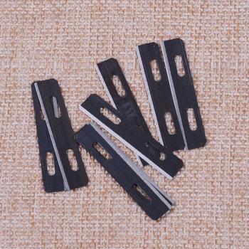 LETAOSK nowy czarny 10 sztuk ostrza ze stali nierdzewnej do Skiver Safety Strander Lace Maker Tool Leather Craft tanie i dobre opinie for Super Skiver 3025-00 safety beveler 3001-00 stainless steel Grey approx 3 8x0 7cm(1 5x0 3inch)(L x W) for Australian Strander 3082-00 Lace Maker 3784-00