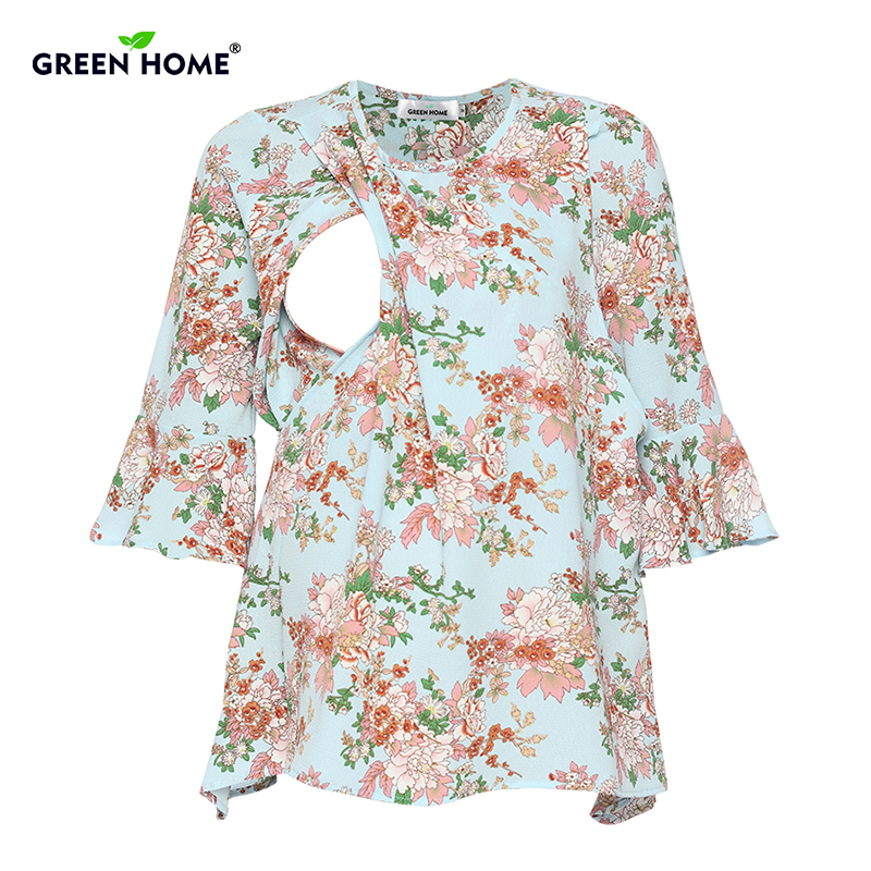 Green Home Chiffon Floral Maternity Nursing Top For Pregnant Women New Sleeve Design Pregnancy Clothes Breastfeeding T-Shirt бур зубр 29315 210 12