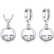 Hollow Round Silver Shine Crystal Cubic Zirconia Jewelry Set