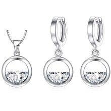 XIYANIKE 925 ayar gümüş basit içi boş yuvarlak parlaklık kristal kübik zirkonya takı setleri kadınlar için yıldönümü hediyesi NE + EA 2019