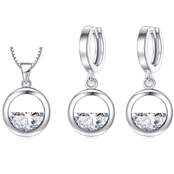 XIYANIKE 925 Sterling Silver Simple Hollow Round Shine Crystal Cubic Zirconia Jewelry Sets For Women Anniversary Gift NE+EA 2019